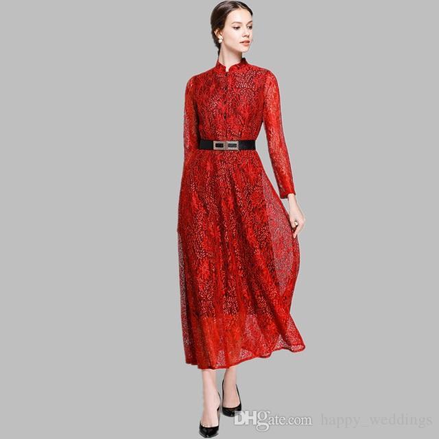 ba118ee9acd53 Women Lace Long Dress New Runway 2019 Spring Fashion Big Swing Elegant  Ladies Party Dresses Free belt