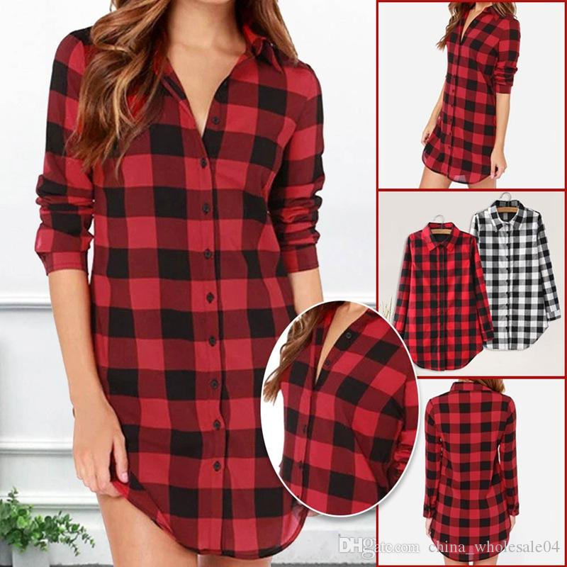 d795032a2586d 2019 Spring Autumn New Fashion Casual Lapel Blouses Women Plaid Shirt  Checks Flannel Shirts Female Long Sleeve Tops Blouse From  China wholesale04