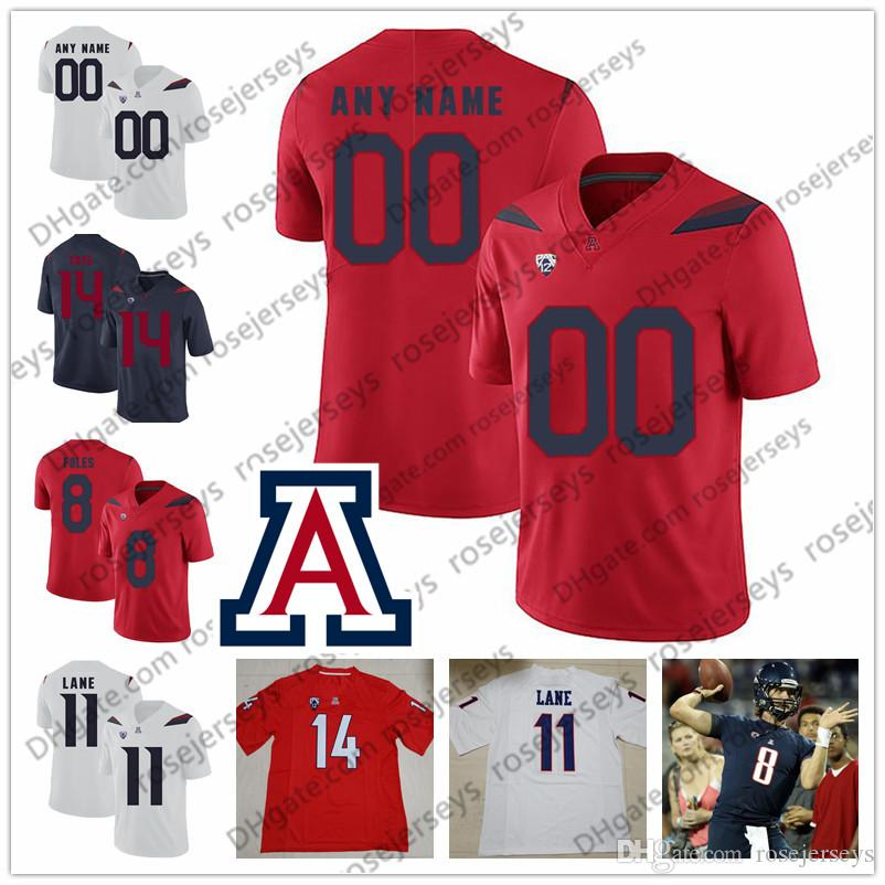 ead4ed9737a Custom Arizona Wildcats 2019 Football Any Name Number #8 Nick Foles 11  K'hari Lane 14 Khalil Tate Tilford Navy Blue Red White Jersey