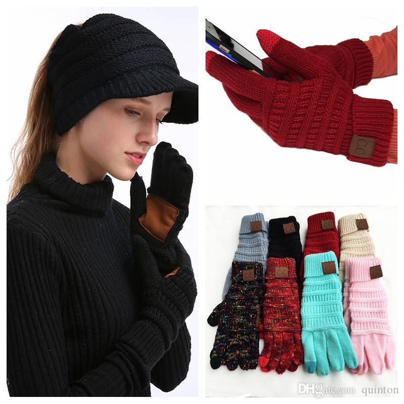 44aad76b14ee8 2019 CC Knit Touch Screen Gloves Winter Knitted Gloves Fashion Stretch  Woolen Knit Warm Full Finger Mittens From Quinton