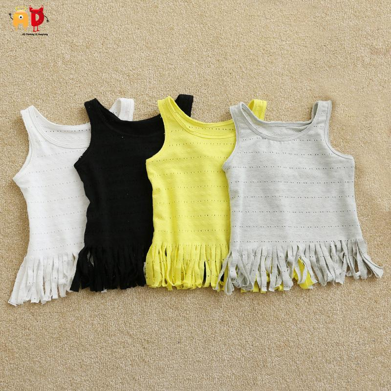 good quality fashion Tassel girls summer Vest pure cotton fabric children's t-shirts kids stylish clothes