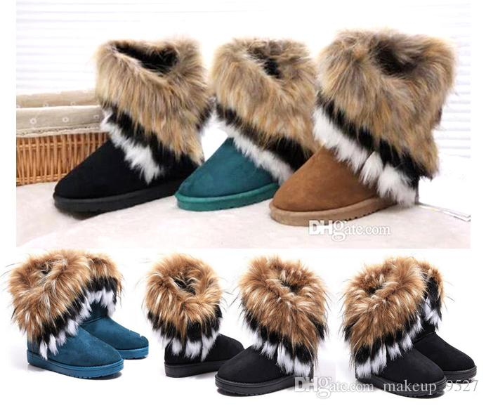 5ad373e193 FREE SHIPPING shoes women imitation fox fur snow boots Mid-Calf winter  shoes boots for women hot fashion new style
