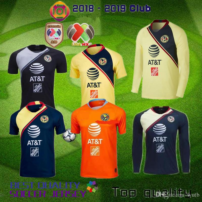 2018 2019 LIGA MX Club America Camisetas De Fútbol De Manga Larga  C.DOMINGUEZ J.MENEZ R.SAMBUEZA P.AGUILAR Camiseta De Fútbol Azul Amarilla  Por Wutb a97a44e6ba574
