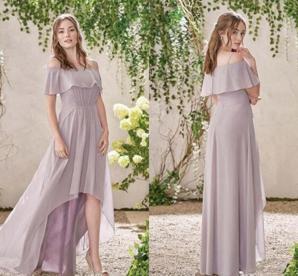 c70fa08b15b5 2016 Ruched Bodice Soft Chiffon Bridesmaid Dresses Lavender Off Shoulder  Modest Formal Party Dress High Low Evening Dresses Cheap Plus Size Dresses  ...