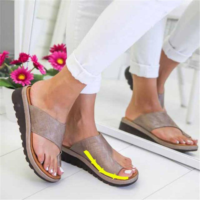 Women's PU Leather Sandals Comfortable flat Bottom Slippers Ladies Casual Toe Correction Shoes Sandals Orthopedic Toe Deformity