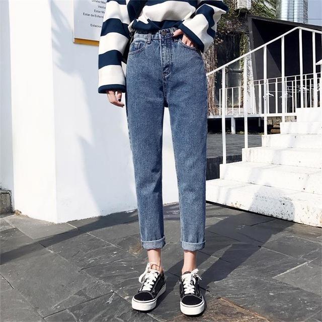 982ae714b92b Compre 2019 Inverno Sólida Lavar O Namorado Feminino Jeans De Cintura Alta  Para Calças Lápis Calças De Brim Denim Mãe Calças Compridas Mulher Plus  Size 25 ...