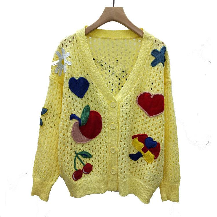 29370ad618c021 2019 2019 Spring And Summer New Catwalk Holiday Vacation Hollow Embroidery  Rainbow Flowers Love Fruit Sweater Cardigan Women From Zjy723, $25.16 |  DHgate.