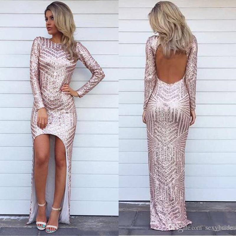Sexy Glitter High Low Evening Formal Dresses Sequins Asymmetric Long Sleeve Sparkly  Prom Dresses Backless Bling Celebrity Arabic Party Gowns Evening Gown ... 052241eed3f7