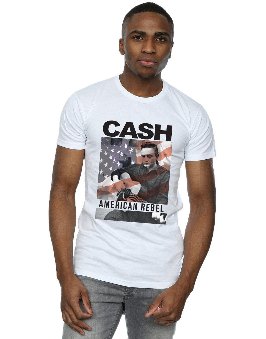 Johnny Cash Men's American Flag Overlay T-Shirt