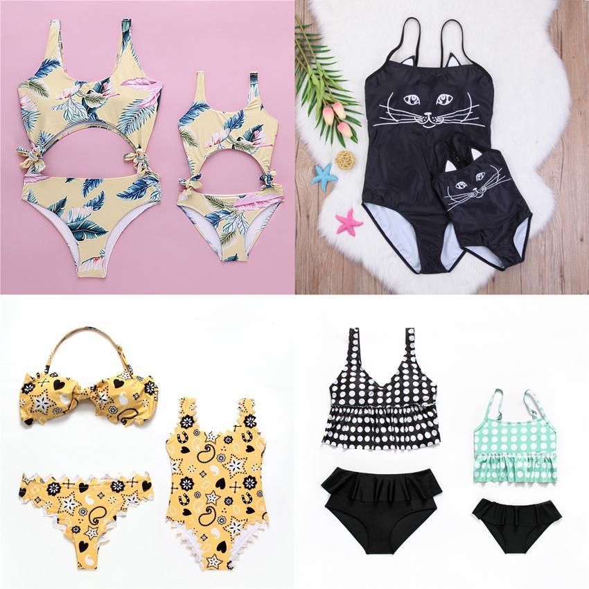Family Matching Mermaid Swimwear Mother Daughter Women Baby Girl Swimsuit Bikini