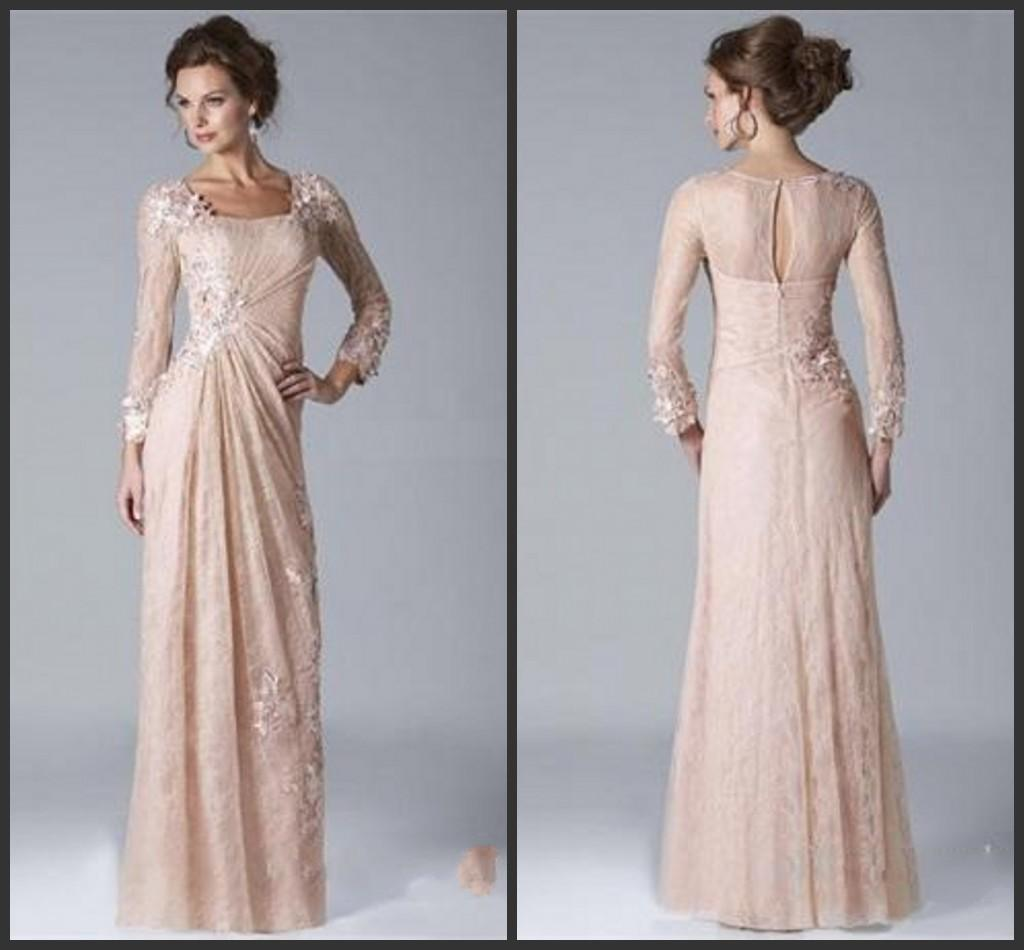 2019 New Vintage Champagne Mother of the Bride Groom Dresses Square Neckline Long Sleeved Lace Chiffon Evening Gowns vestido de novia