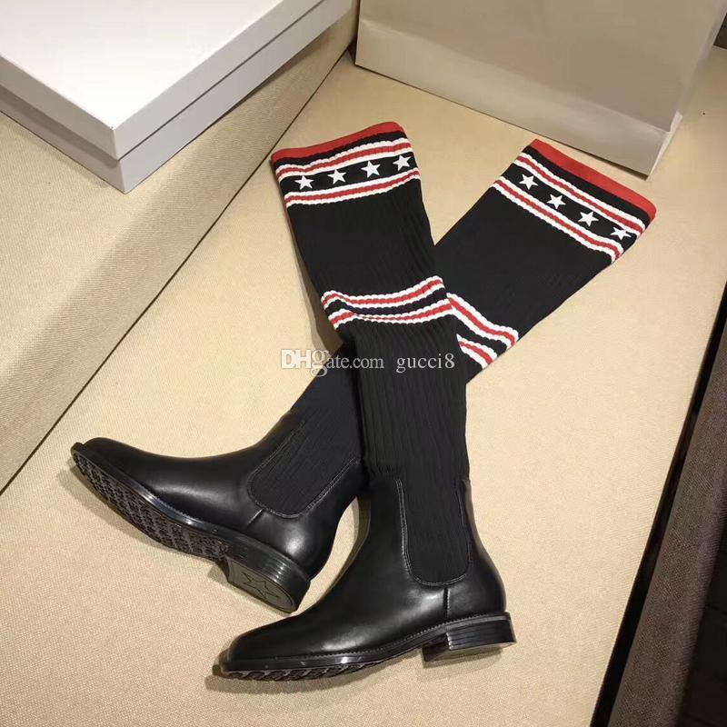 8953954742fa New Stretch Fabric Thigh Knitted Sock Boots Feminino Fashion New Over The Knee  Womens Motorcycle Booties Mens Leather Boots Grey Boots From Ado521, ...