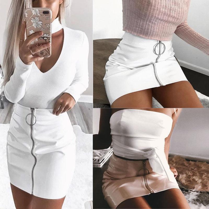 Mulheres Sexy Moda Cintura Alta Zip Faux Leather Lápis Curto Bodycon Mini Saia 2017 Nova Saia Branca Sólida