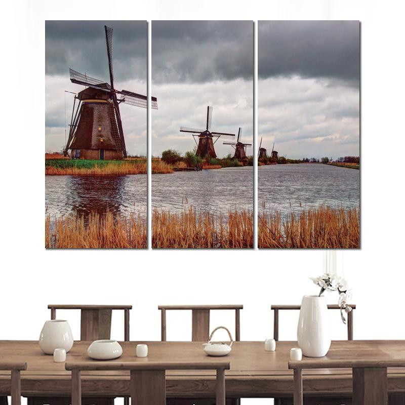 Affiche en toile 3 panneaux rivière moulin vent nuages image peinture imprimée pour la décoration murale de salon