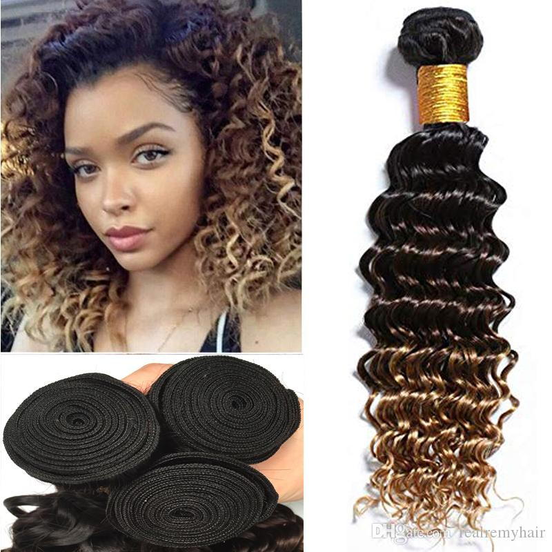 Just Wome #27 Mongolian Deep Wave Hair 3 Bundles Honey Blonde Color Human Hair With Closure Non Remy Curly Hair Extensions Hair Extensions & Wigs Human Hair Weaves