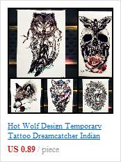 Schwarzer indischer Henna Tattoo Aufkleber Bull Ox Head Feather Dreamcatcher Tatoo wasserdichte Arm zurück Aufkleber temporäre Tätowierung Aufkleber