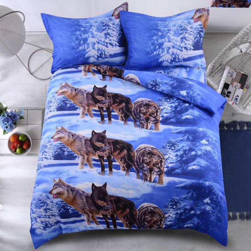 Wolf Printed 3pcs/lot Comforter Bedding Sets King Size Queen 3D Bed Set Twin Size Luxury Bed Quilt Cover Duvet Cover Sheets Set