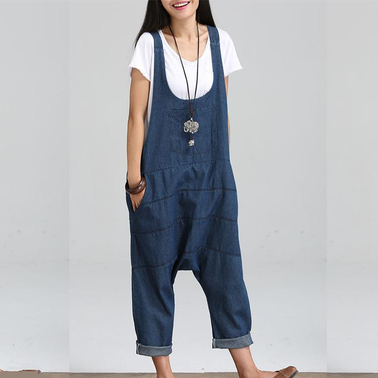 78d659e0169 2019 Loose Casual Rompers Womens Jumpsuit Plus Size Denim Overalls Pockets  Jean Overalls For Women From Milan_shop, $28.37 | DHgate.Com