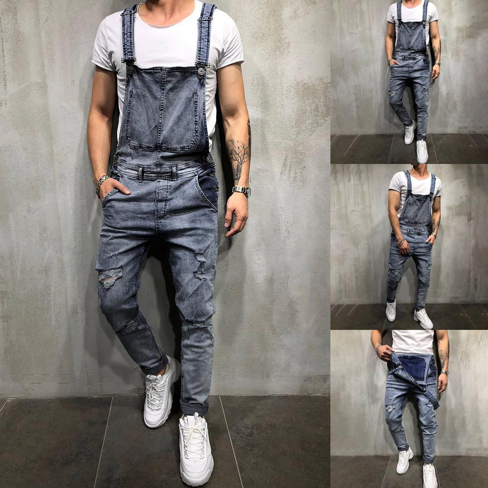 98678dd612ee 2019 Men S Overall Streetwear Casual Jumpsuit Jeans Wash Broken Pocket  Trousers Suspender Pants Men Aesthetic Pantalon Homme From Bida Amy