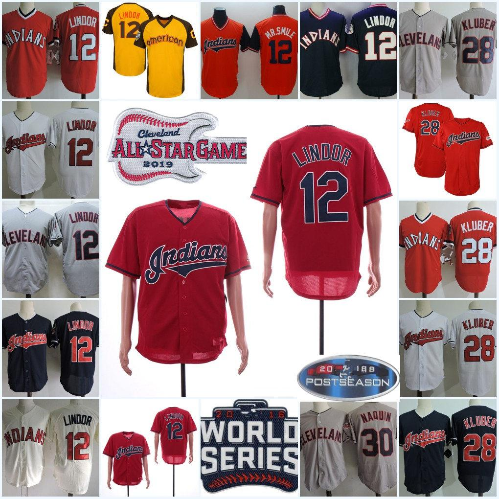 release date: dfb84 0d66d Mens Francisco Lindor MR.Smile Jersey Stitched White Grey 2019 Style #30  Tyler Naquin #28 Corey Kluber Jersey S-3XL