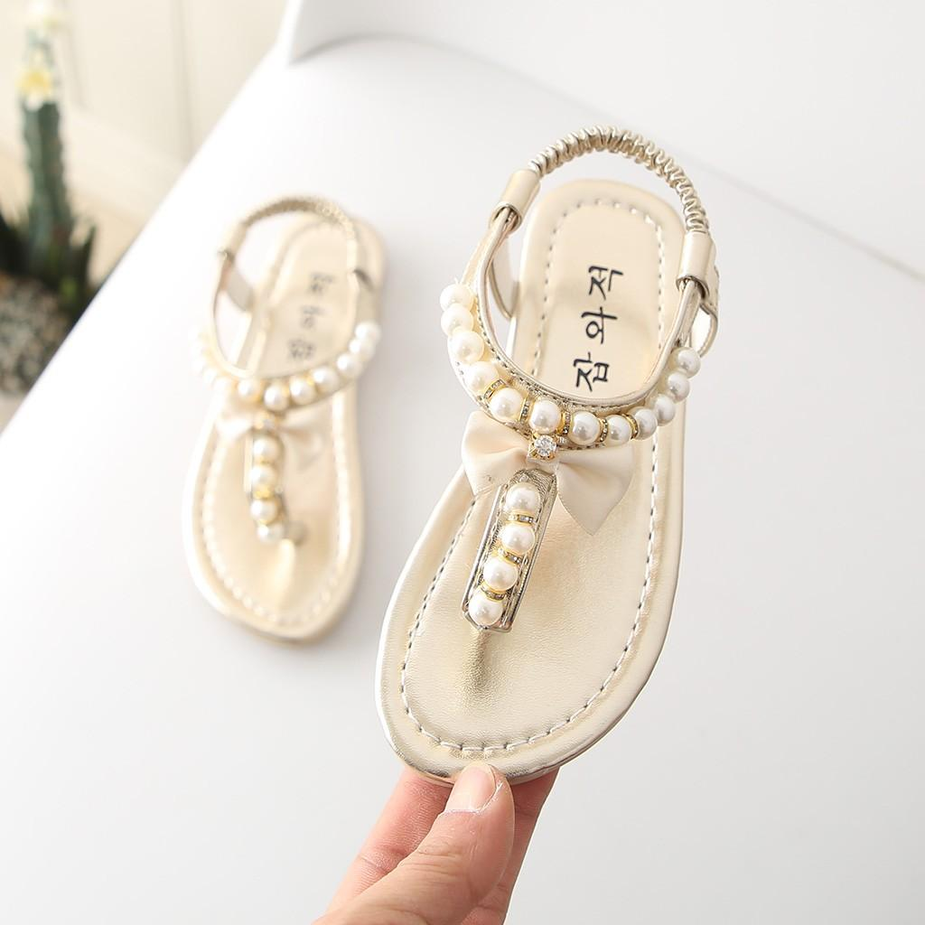 Summer girls thong sandals cute beaded princess shoes new fashion bow flat shoes pearl Sandalias #YL3