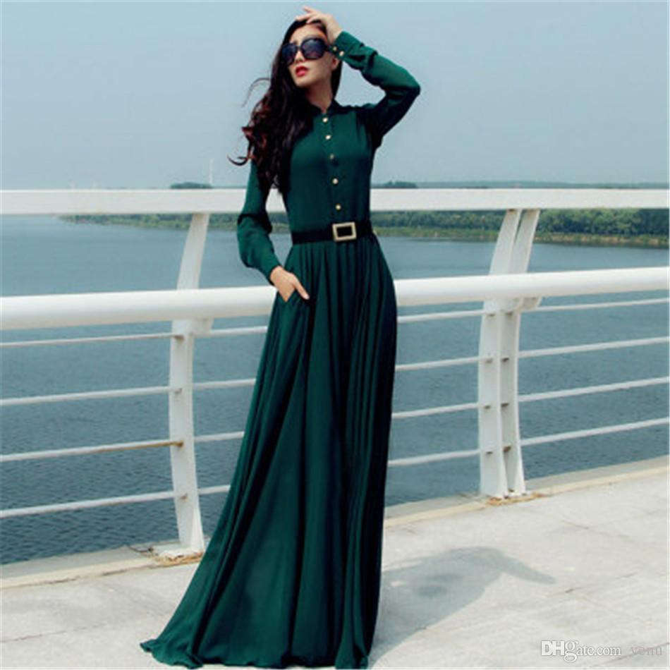 1ff89a0b4a16 2019 Vestido Dark Green Longo Women Dresses Vintage Elegant Casual Lady Long  Button Party Maxi Shirt Dress Kaftan Abaya Tunics NB 1114 Fashion Dresses  ...