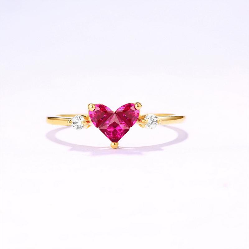 Compre ANI 14 K Yellow Gold Mulheres Anel De Casamento 3mm Red Corindo  Coração Cut Natural Anéis De Noivado De Pedras Preciosas Anelli Para  C18122801 De ... f0cd04b31d