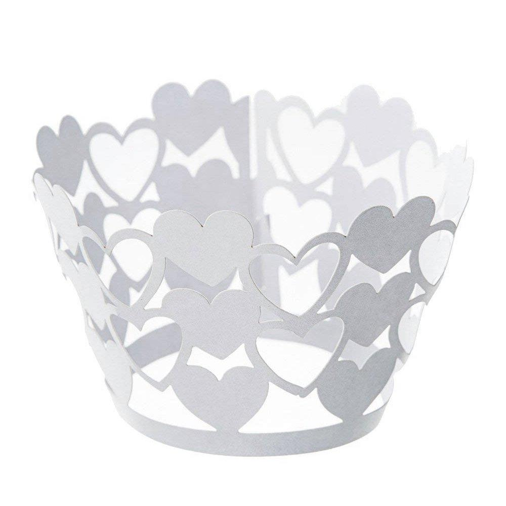 Heart Shape Cupcake Wrappers Bake Cake Paper Cups Laser-Cut Liner Muffin Case Trays Hollow Out Cups for Wedding Party Birthday