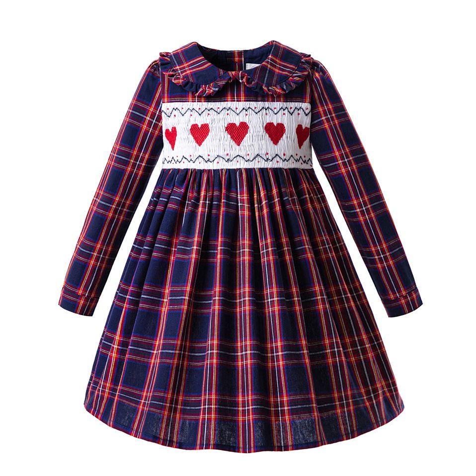 d1809e2a6 Pettigirl Autumn Baby Girls Grid Handmade Smocked Heart Dresses Long ...