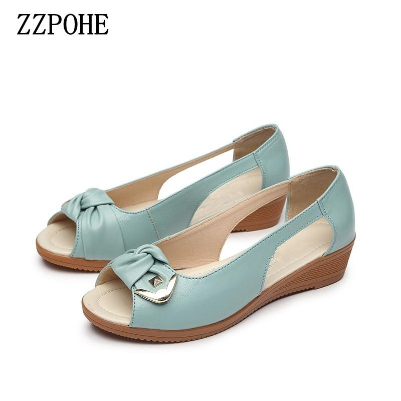 Zzpohe Summer Ladies Fashion Sandals Middle-aged Soft Leather Fish Head Sandals Large Size Slope Comfortable Woman Shoes 35- 43 Y19070203