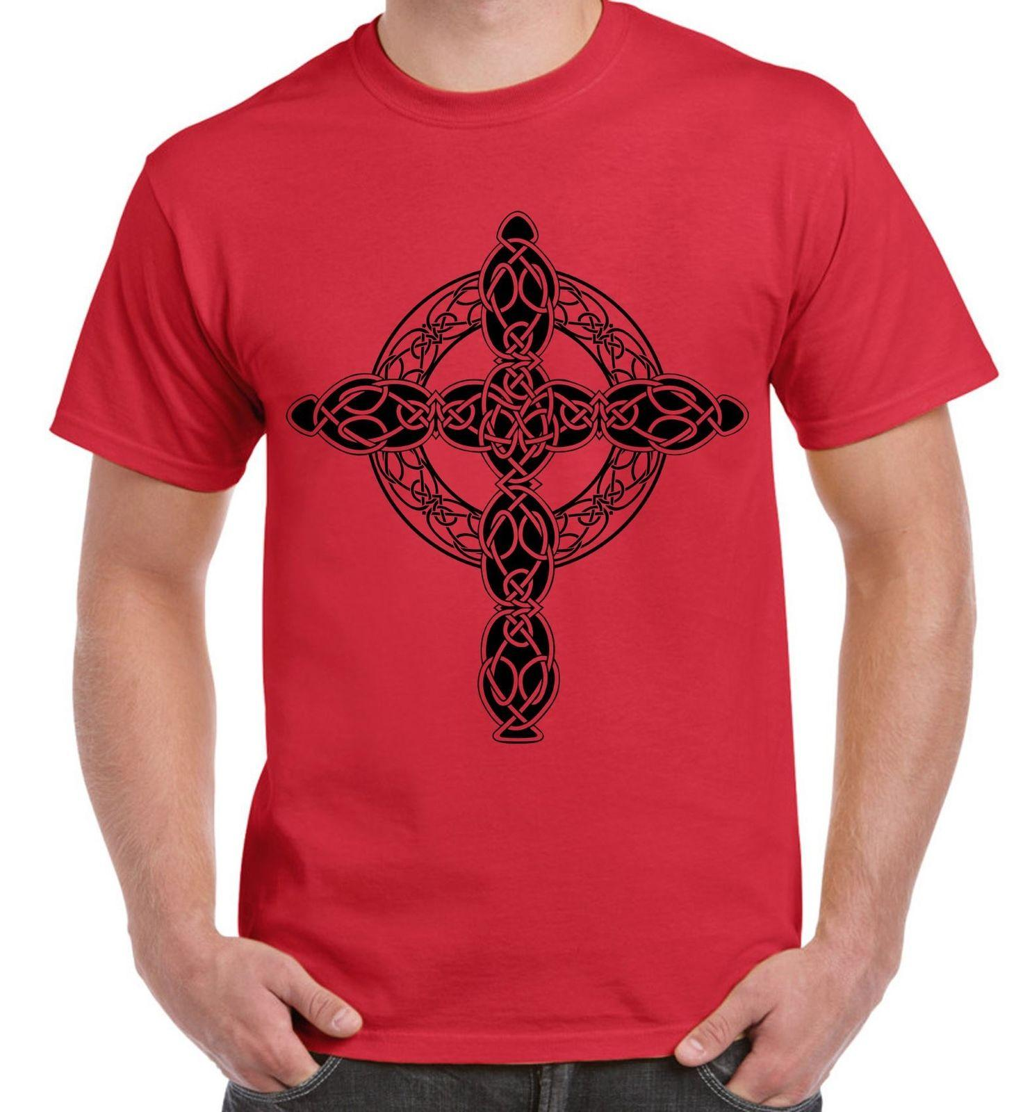 Celtic Cross Tattoo Style Hipster Large T Shirt White Black Grey Red