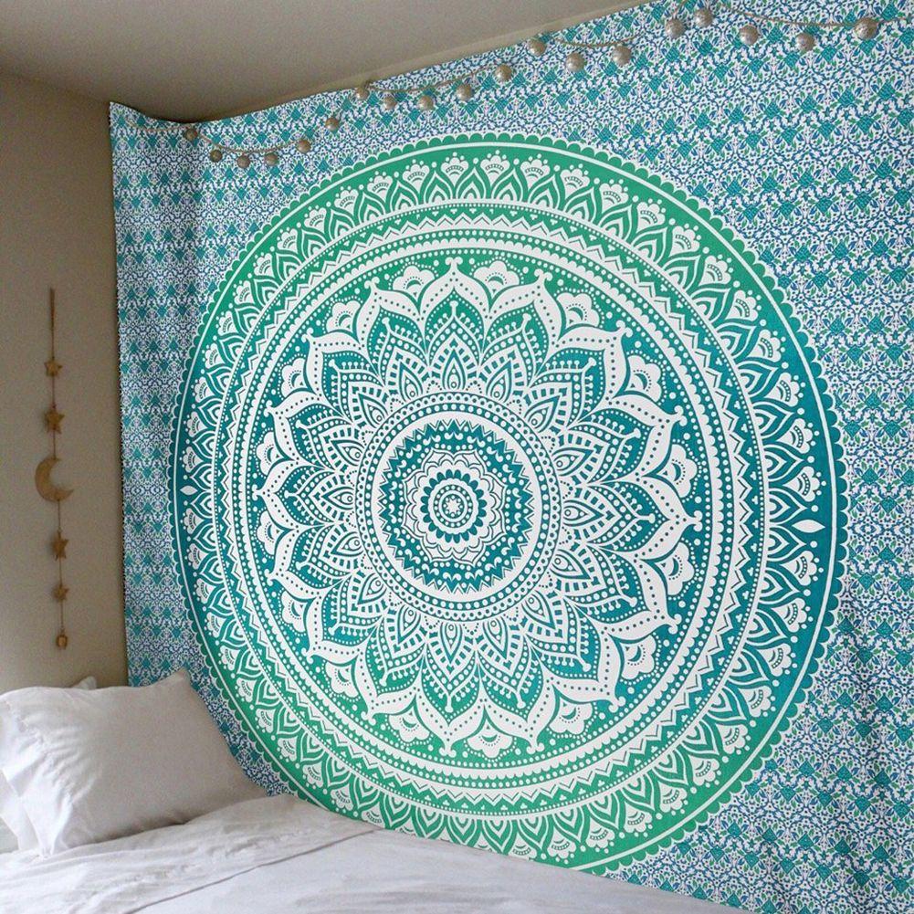 Enipate 큰 만다라 인도의 태피스트 벽 거는 보헤미안 비치 타월 폴리에스테르 얇은 담요 요가 목도리 매트 210x150cm 담요