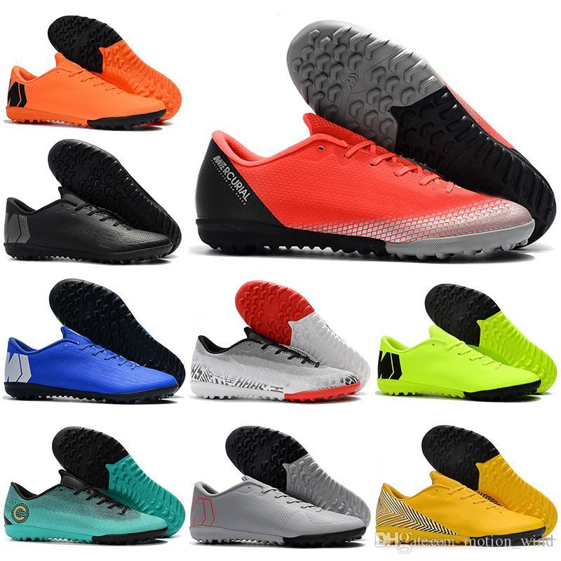 Botas de fútbol de tobillo bajo para niños Chicos jóvenes CR7 Mercurial VaporX XII Academia IC TF Zapatos de fútbol Hombres Mujeres Superfly Césped