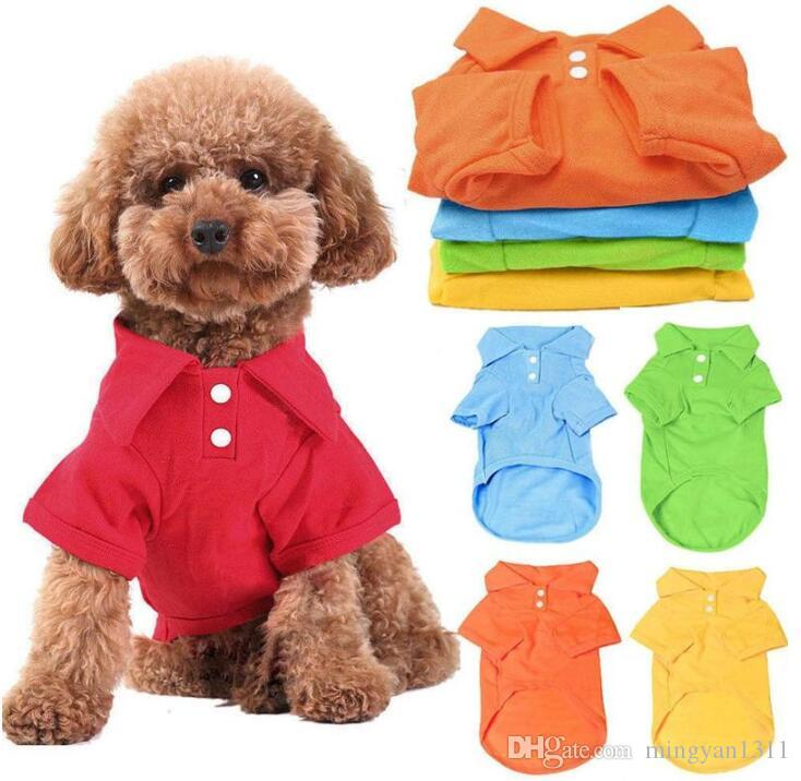 Pet Dog Polo Shirt Summer Dog Clothes Candy Colors Cotton t Shirt Soft Clothing Coat For Puppy Small Dog Shirts Apparel XS-XL Free Shipping