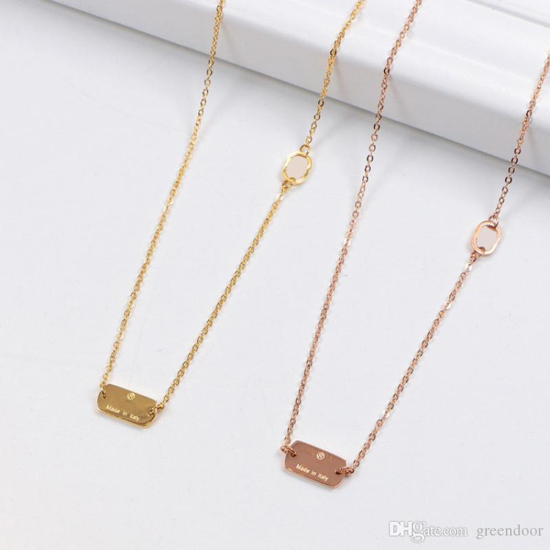 Fashion classic square letter letter necklace trend high quality plating 18K gold titanium steel short couple models pendant necklace
