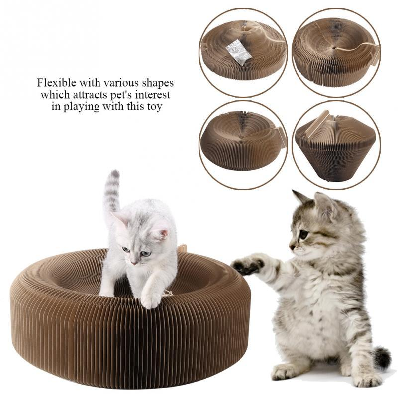 New Folding Pet Cat House Corrugated Paper Cat Scratching Plate with Ball Pet scratchers bed Small Animals Playing House Toy