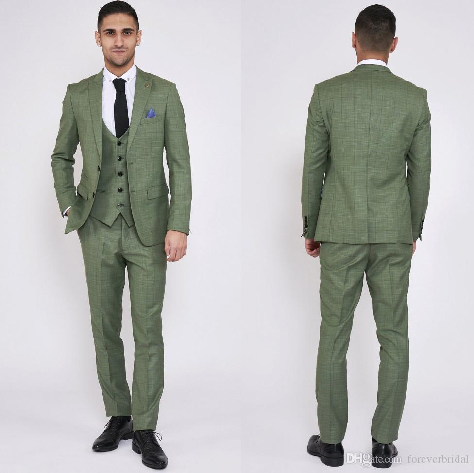 9f999c52846 Olive Green Plaid Mens Suits For Groom Tuxedos 2019 Notched Lapel Slim Fit  Blazer Three Piece Jacket Pants Man Tailor Made Clothing Prom Suits For  Guys Prom ...