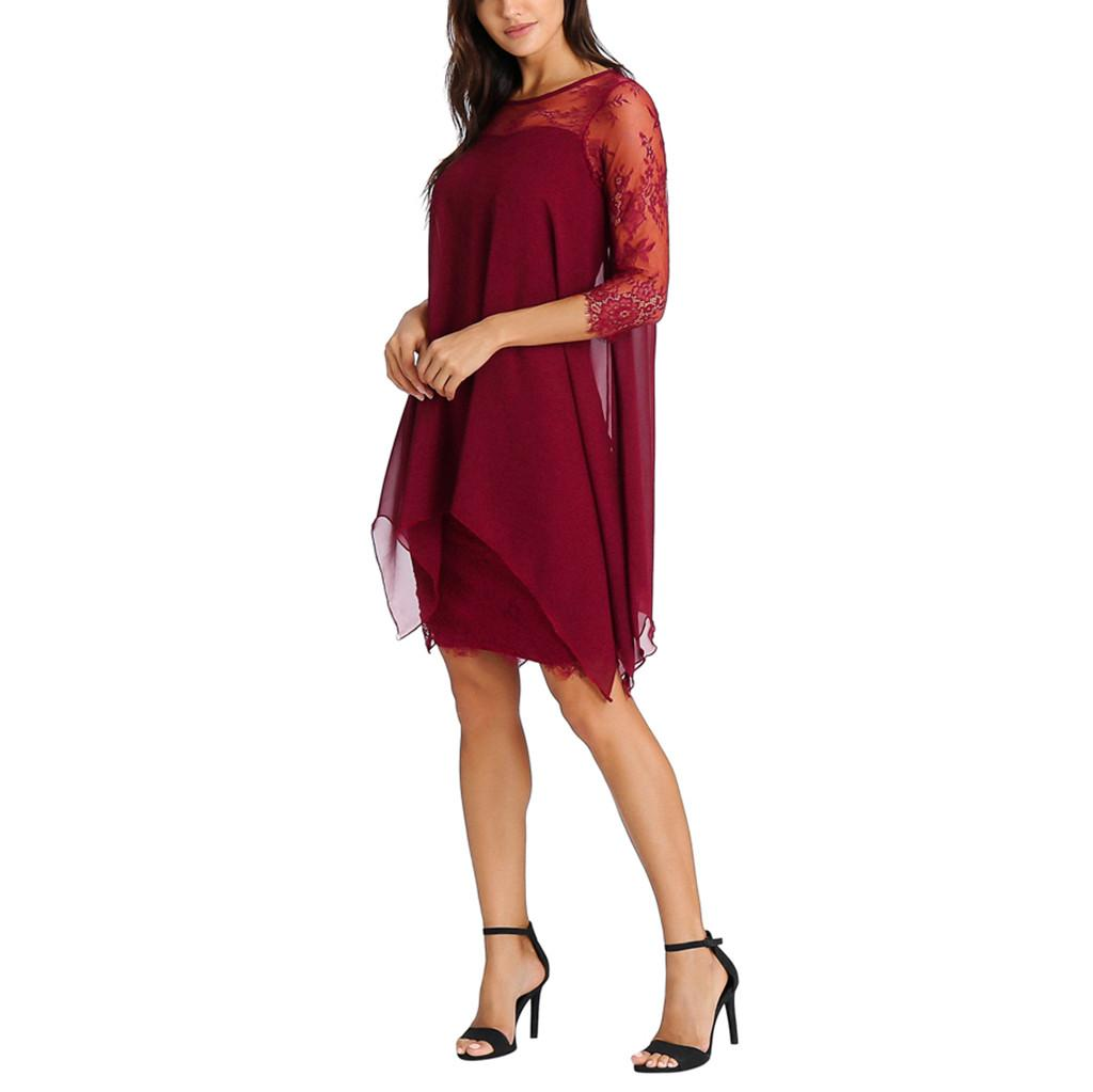 be8a61c28d6 Dress Women Sexy Dress Girl New Fashion Chiffon Overlay Three Quarter Sleeve  Lace Oversize S 5XL Cute Dresses Red Dresses From Hermanw