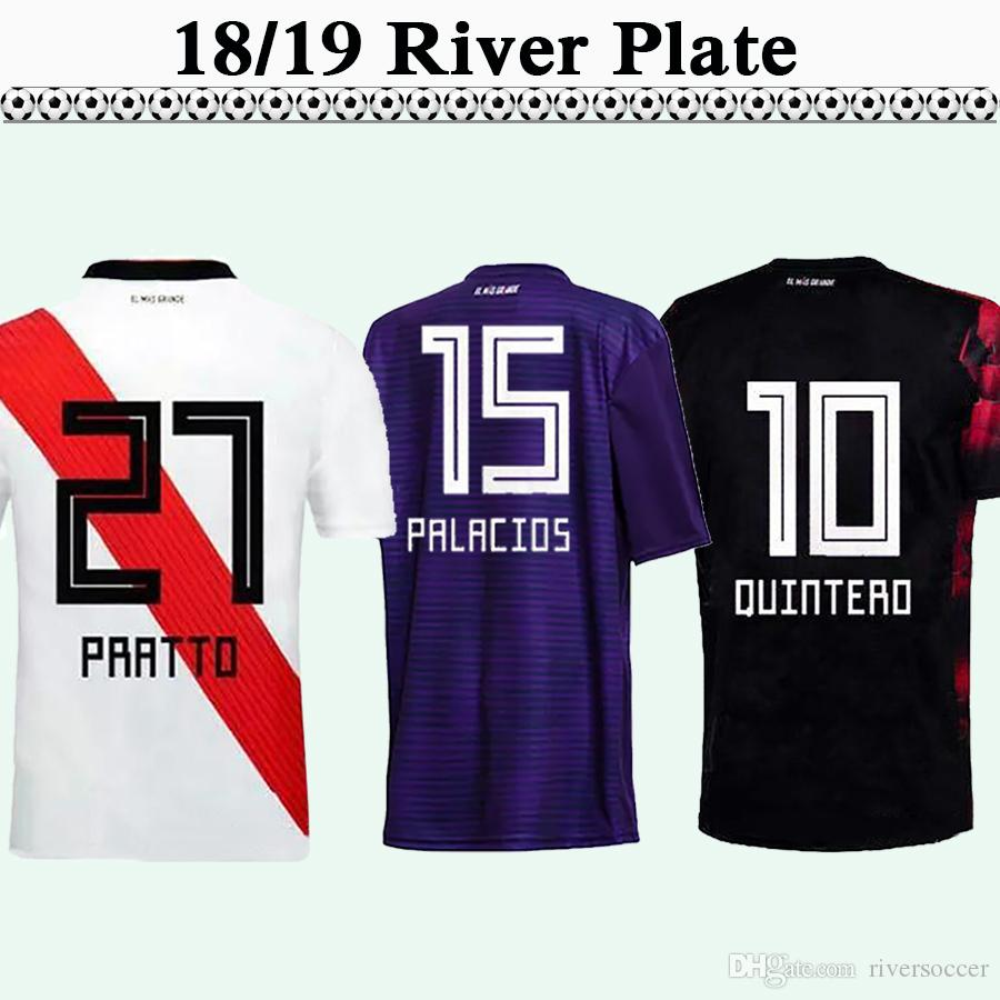160627d3862 2019 18 19 River Plate Mens Soccer Jerseys Home White Away Purple PONZIO  SCOCCO Football Shirts Customized QUINTERO PRATTO Short Sleeve Uniforms  From ...