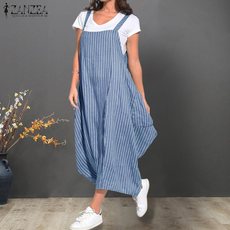 e95d445cf3 ZANZEA Women 's Summer Sundress Boho Dress Ladies Sleeveless Striped Long  Maxi Vestidos Beach Dresses Party Robe Femme Plus Size Y19042303