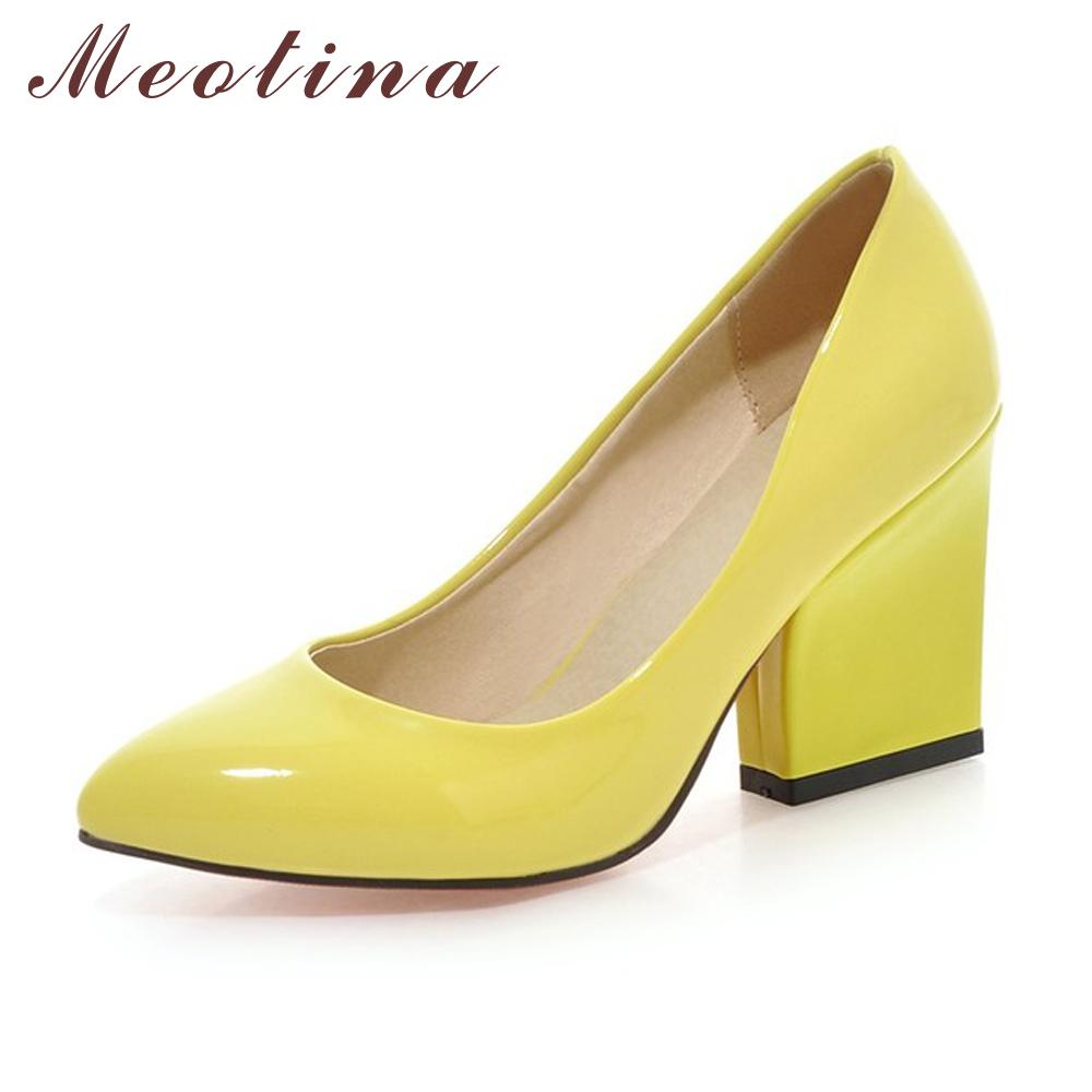 d2f1d1e7 Compre Meotina Zapatos De Tacón Alto Zapatos De Las Mujeres Zapatos De Boda  Blancos Gruesos Zapatos De Tacón Alto Fiesta De La Moda Calzado Amarillo  Rojo ...