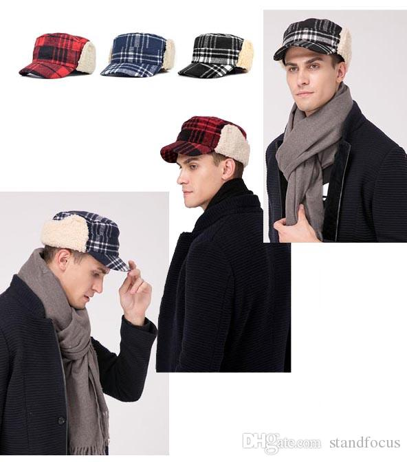 Stand Focus Unisex Women Men Ear flap Cover Military Army Cadet Hat Cap  Check Tartan Plaid Fashion Wool Blend Tweed Fall Winter