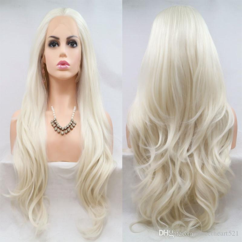 Sexy Soft 180% Density Blonde Layered Natural Wave Synthetic Hair Lace Front Wig Glueless Heat Resistant Fiber Natural Hairline For Women