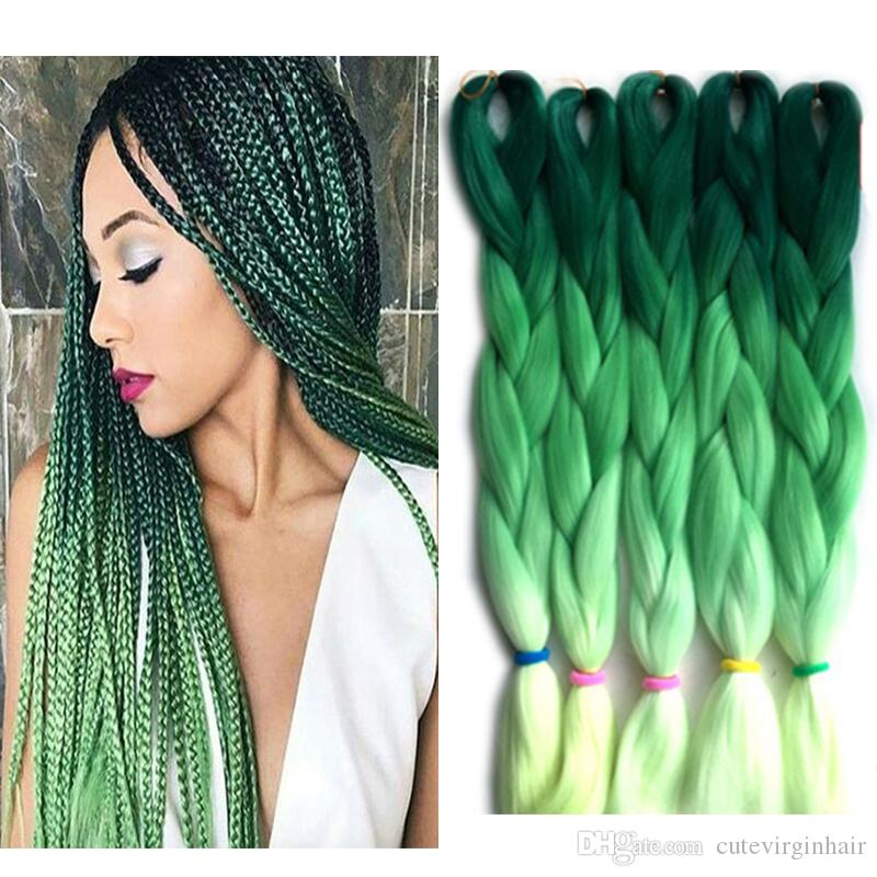 Marley Braid Hair Kanekalon Three Tone Ombre Green Colored Hair Braids Jumbo Ombre Synthetic Braiding Hair Extensions for Box 24 Inch 100g