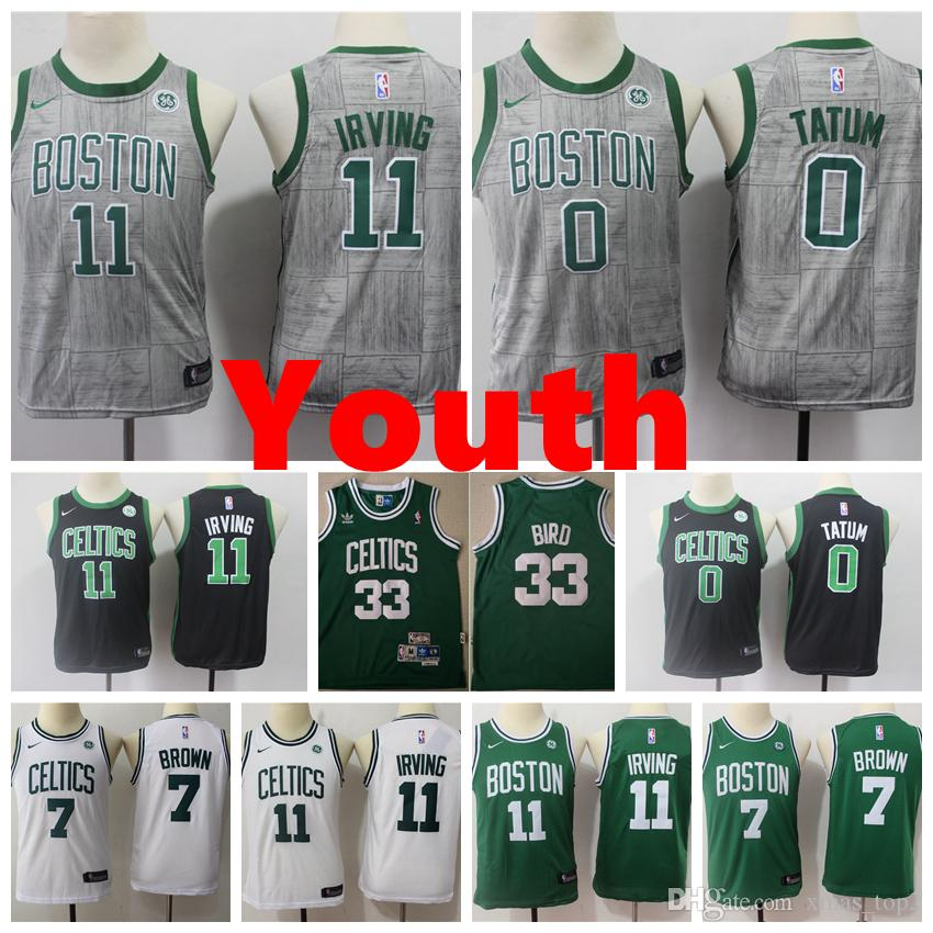 timeless design e544a e8dbf 2019 New Youth Celtics Basketball Jerseys 11 Irving 7 Brown 0 Tatum 33 Bird  Youth Kids Boys Basketball Jerseys