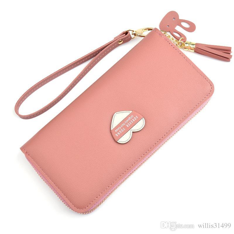 7fc3b23deb3 Women Wallets Wristlet Handbags Cards Holder Love Heart Lady Purses  Moneybags Tassels Zipper Long Clutch Coin Purse Wallet Bags Purse Wallet  Cute Wallet ...
