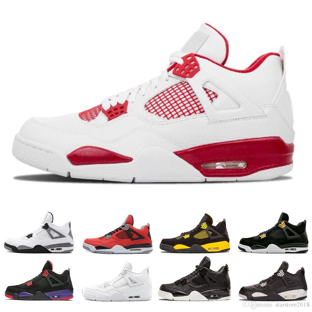 a0dcc7b5d5e Nike Air Jordan 4 4s Populares 4 4s Realeza Hombres Zapatos De Baloncesto  Zapatillas De Deporte Día Solo Tatuaje Raptors New Men Alternate Motorsport  White ...