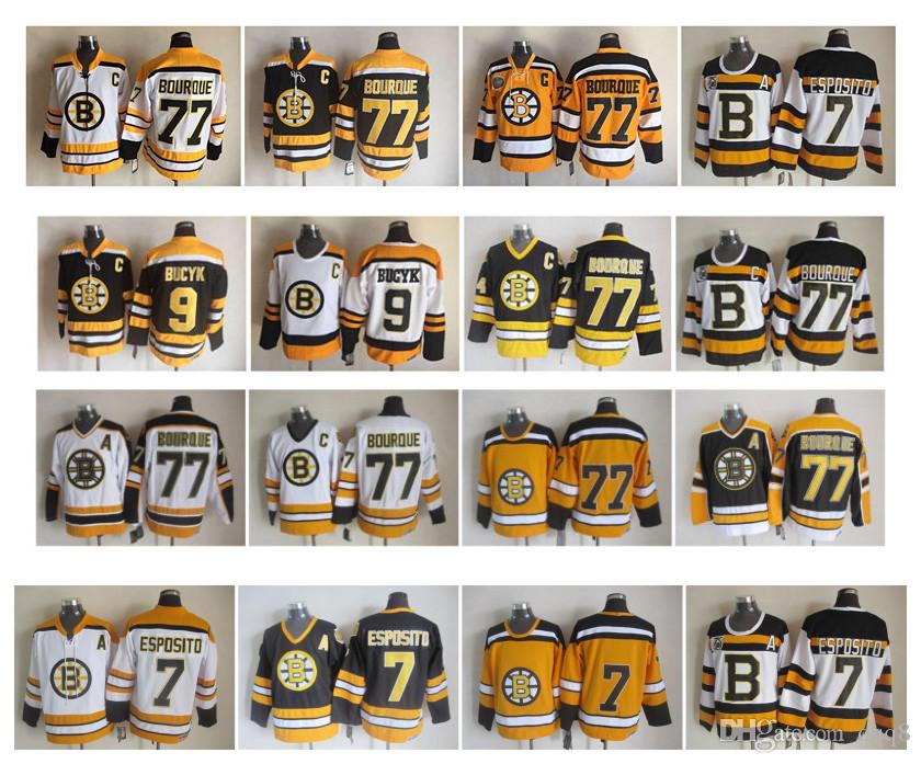 Vintage Boston Bruins Jersey 7 Phil Esposito 77 Ray Bourque 9 Johnny Bucyk Black  White Yellow CCM Hockey Jerseys Size 48-56 Edmonton Jerseys Wild Jersey ... 35f8d8e81