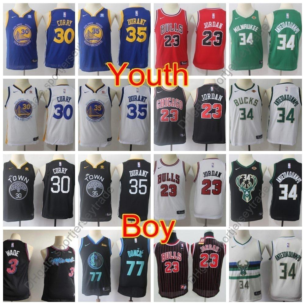 best value ba2fc 93faa 2019 Boys Miami Dwyane Wade Heat Vice Dallas Luka Doncic Mavericks Kids  Basketball Jerseys Michael Stephen Curry Kevin Durant Antetokounmpo