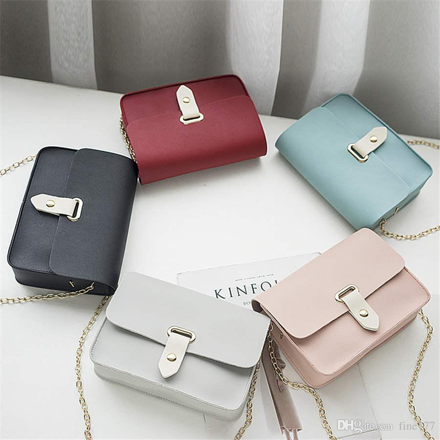 Designer New women's bag solid color casual small square bags shoulder Messenger bag small fresh mobile phone bag chain mini bags